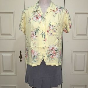 Crazy Horse Yellow Floral Short Sleeve Blouse
